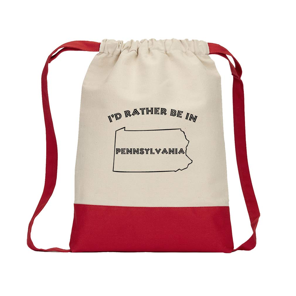 I'D Rather Be In Pennsylvania Cotton Canvas Color Drawstring Bag Backpack - Red