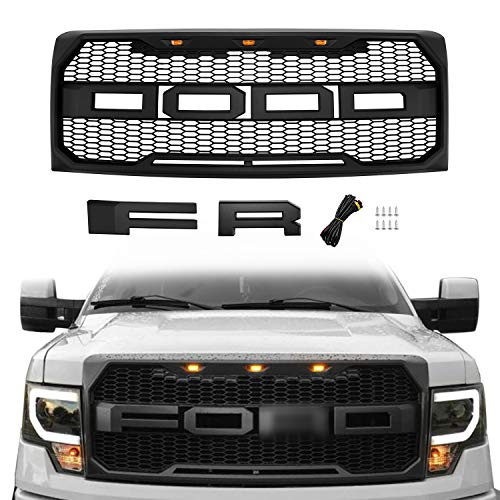 - Seven Sparta Front Grill for Ford F150 2009, 2010, 2011, 2012, 2013, 2014, Raptor Style Grille for F150, Matte Black
