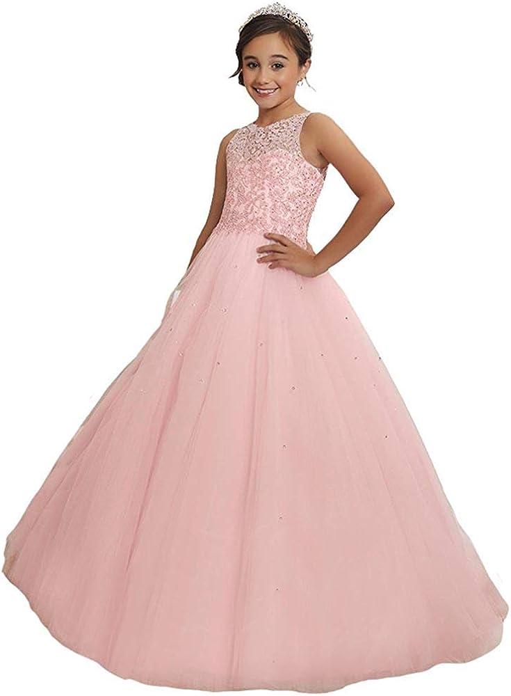 Mail order Arlington Mall Wenli Girls' Sheer Neck Dresses Beaded Rhinestones Pageant