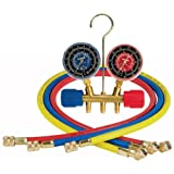"Robinair 40153 Side-Wheel Manifold Gauge with 1/4"" Fittings and 36"" Hose Set"