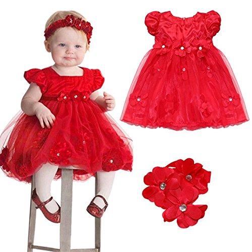 Iefiel Vestido Rojo Con Una Banda De Cabeza Para Niña Bebé