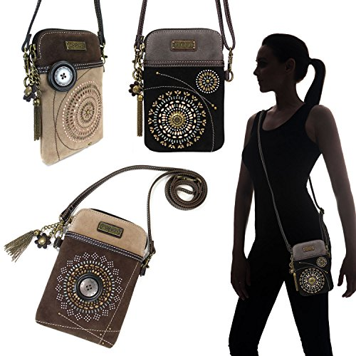 Brown Handbags Starburst CHALA Adjustable with Strap Purse Phone Wristlet Women's Crossbody Cell xUYqxTP