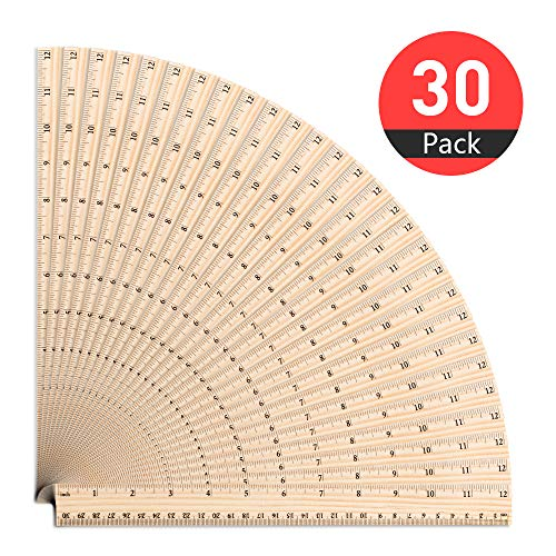 ASIBT 30 Pack Wooden Rulers Student Rulers Wood School Rulers Measuring Ruler Office Rulers,2 Scale,30 cm and 12 Inch