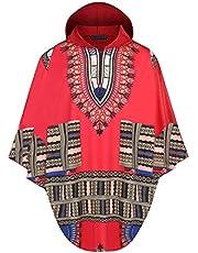 Daupanzees Mens African Print Dashiki Shirts Poncho Cape Hoodie Sweatshirts Pullover Cloak