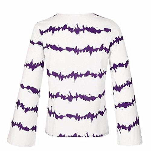 Violet Chevauchement Fille Shirt Chiffon Chemisier ~ Blouse Taille Col Manche en S XXXL V Femmes Shirts Vrac Wolfleague Grande Ray Haut Chemises Casual Longue Sexy T PfxwCZ