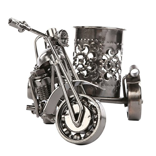 MyGift Motorcycle & Sidecar Pencil Cup, Office Desktop Pen Holder, Gunmetal Gray