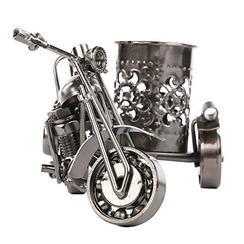 MyGift Motorcycle & Sidecar Pencil Cup, Office Desktop Pen Holder, Gunmetal (Motorcycle Pen)