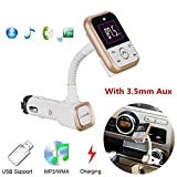 FM Transmitter Wireless Bluetooth FM Transmitter Car Kit Radio Receiver with 5V/2.1A USB Charger Support USB Flash Driver and AUX output and input (Gold)