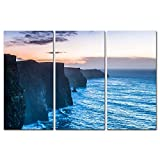 ireland in pictures - 3 Pieces Modern Canvas Painting Wall Art The Picture For Home Decoration Beautiful Cliffs Of Moher At Sunset In County Clare Ireland Europe Seascape Coast Print On Canvas Giclee Artwork For Wall Decor