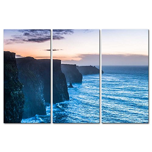 3 Pieces Modern Canvas Painting Wall Art The Picture For Home Decoration Beautiful Cliffs Of Moher At Sunset In County Clare Ireland Europe Seascape Coast Print On Canvas Giclee Artwork For Wall Decor ()