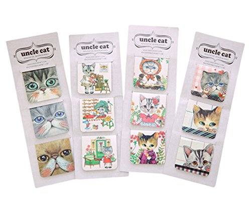 12 Piece 3 Set Cute Cat Magnetic Bookmark DIY Cartoon Paper Clips Book Mark for Book Gift