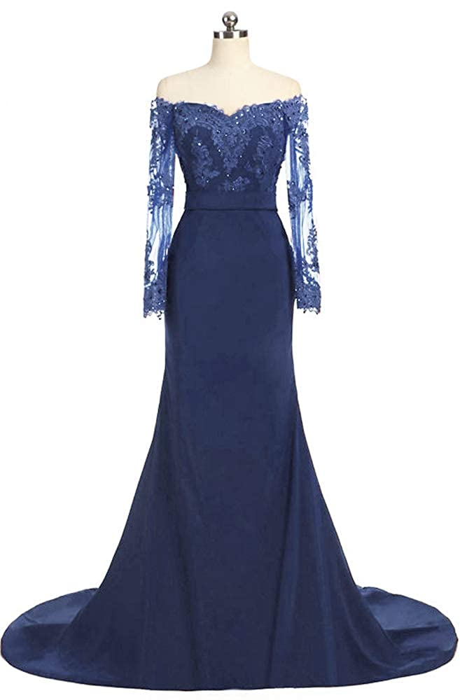 Navy bluee EileenDor Women's Off Shoulder Long Sleeve Sexy Evening Gowns Women Appliques Mermaid Formal Prom Dresses