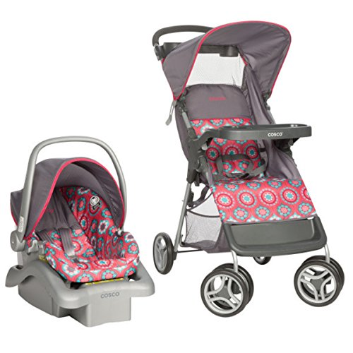 Cosco Lift and Stroll Travel System in Posey Pop, Adjustable canopy Large, easy-access storage basket 3-point safety harnessCar Seat Rear-facing (Cosco Lift & Stroll Travel System Posey Pop)