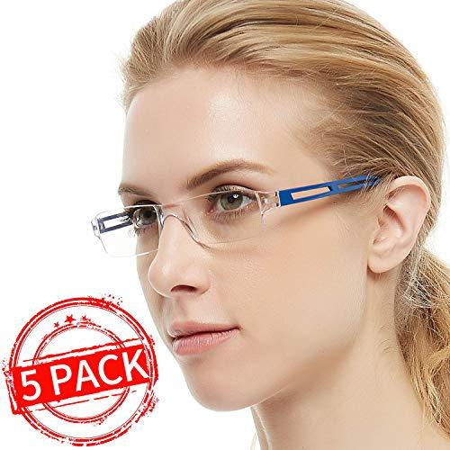 (Reading Glasses 5 Pairs Rimless Men Women Comfort Prescription Eyeglasses Fashion Reader (+100,+150,+200,+250,+300,+350,+400) (Purple+Blue+Transplate+Black+Red, 1.5))