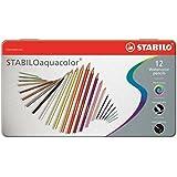 STABILO aquacolor - Lápiz de color acuarelable - Caja de metal con 12 colores