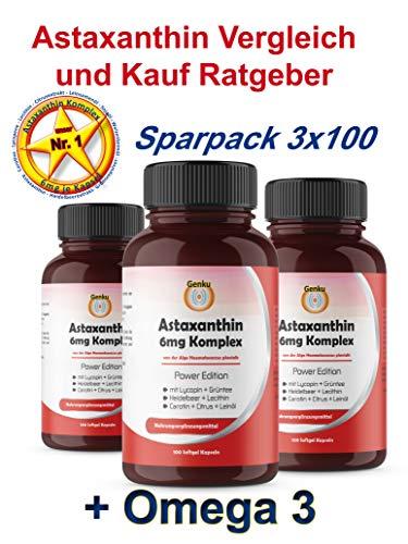 Genku´s bestes 6mg Astaxanthin 3x100 Softgel Kapsel Komplex hochdosiert, sehr hohe Bioverfügbarkeit mit Omega-3 Lycopin Grüntee Heidelbeer Citrus Lecithin Carotine. 50% mehr als 4mg