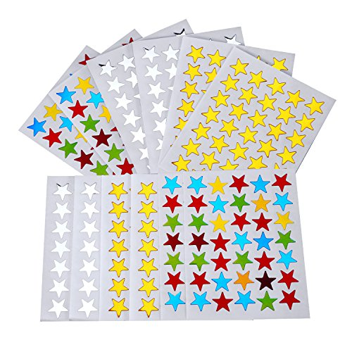 eBoot 2100 Count Star Stickers Gold Silver Colorful Self-adhesive Stickers Stars -