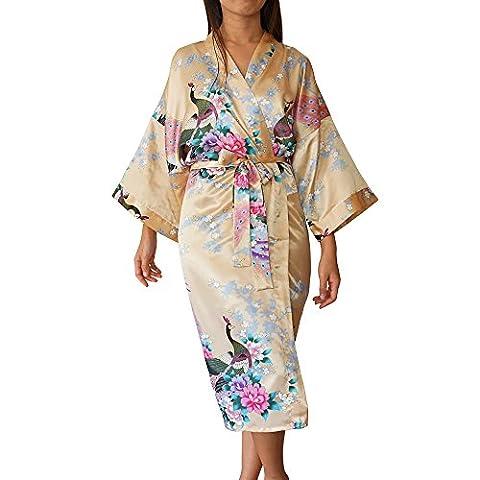 Womens Satin Kimono Robe - Asian and Oriental Peacock Bathrobe (Gold Bathrobe), One Size
