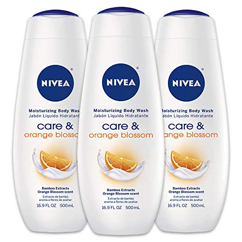 Cool Body Wash - NIVEA Care & Orange Blossom Moisturizing Body Wash - Fresh Scent for Normal Skin - 16.9 fl. oz. Bottle (Pack of 3)