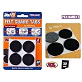 4pce Self Adhesive Felt Guard Tabs - 32mm. Furniture/Floor Scratch Protector