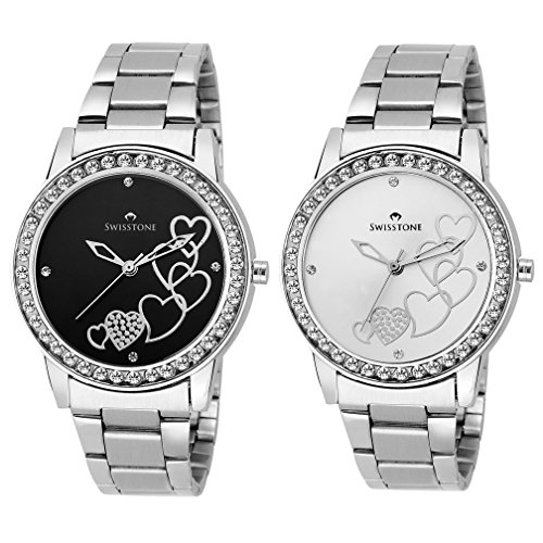 Swisstone HART236 BLK CH  amp; HART236 SLV CH Analog Wrist Watch Combo for Women/Girls