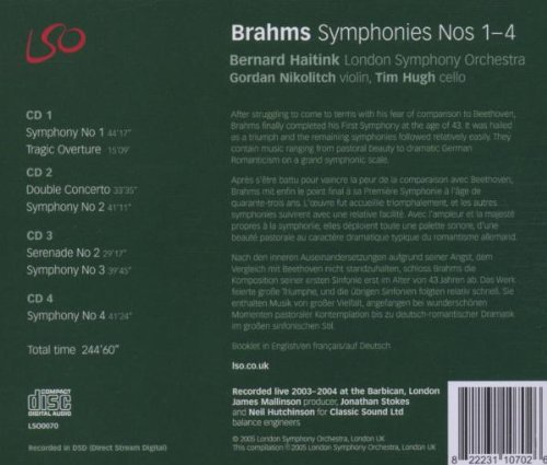 Brahms: Symphonies Nos.1-4, Double Concerto, Tragic Overture, Serenade No.2 by LSO LIVE