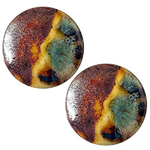 Pair - Amber Rose CA Glass Ear Plugs Organic Handmade Gauges Double-Flared Essential Oils Rear Diffuser (18mm 11/16in)