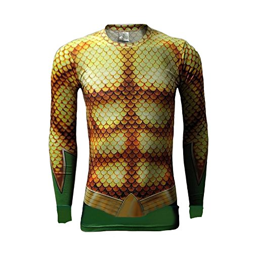 Aquaman T Shirt Quick Dry Shirts Cosplay Costume for Halloween Long Sleeve L