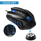 51 7w61eyNL. SL160  - Gaming Mouse, Rytaki R6 High-Precision 16400 DPILaser MMO Wired Gaming Mice with 19 Programmable Buttons, 12 Side Buttons,6 Adjustable DPI Levels, Weight Tuning Cartridge for PC, Gamer-Black