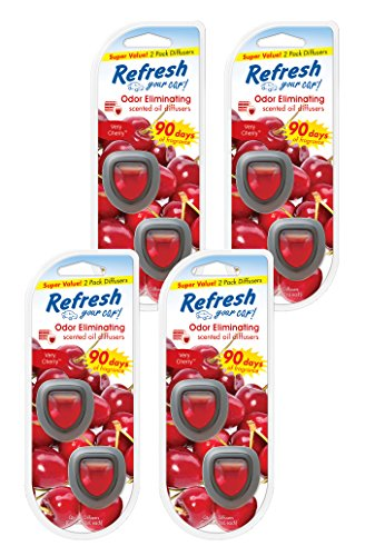 Refresh Your Car! 84134 Very Cherry Mini Oil Diffuser, 4 Pack, (2 per Pack)