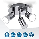 Ceiling Light Fitting, Elfeland 3 Way Ceiling Lighting Modern Pendant Light Ceiling Spotlight Rotatable Ceiling Lights Swiveling Lamp 3x GU10 Light Bases Angle Adjustable Polished Silver Chrome Surface VDE,UL,FCC,ROHS Certified Indoor Lighting for Bedroom Kitchen Living Room and Bathroom (Without Light Source)