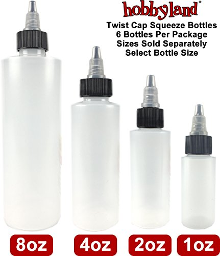 Hobbyland Squeeze Bottles with Twist Cap (8 oz, 6 Bottles)