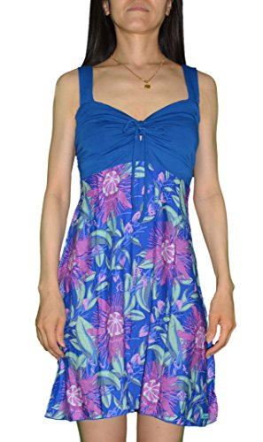 Rainbow Jo Womens Lilikoi Flower Lycra Tie Front Dress BLUE L by Rainbow