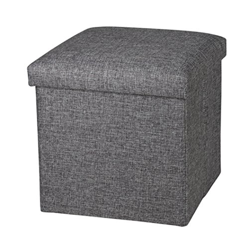 Storage Ottoman Cube Footrest Seat, 12 X 12 X 12 Inches (Linen Gray) ()