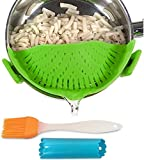 Clip-on kitchen food strainer for spaghetti, pasta, and ground...