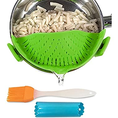 Clip-on kitchen food strainer for spaghetti, pasta, and ground beef grease, colander and sieve snaps on bowls, pots and pans, Set includes silicone strainer brush & garlic peeler by Salbree, Green