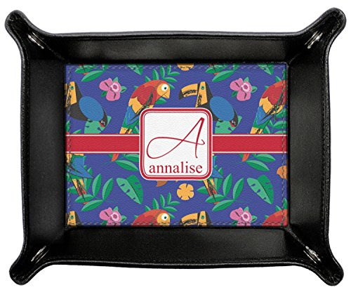 Parrots & Toucans Genuine Leather Valet Tray (Personalized) by RNK Shops