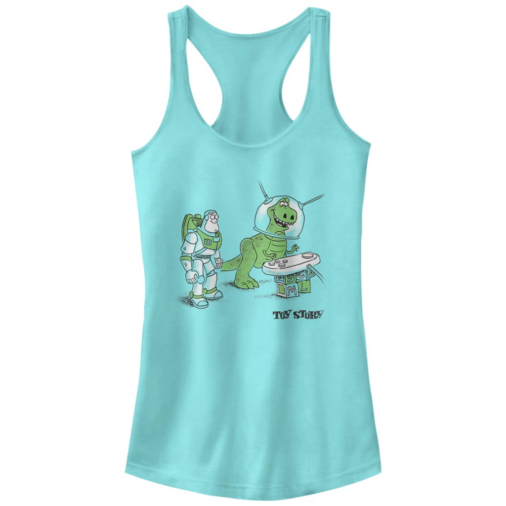 Fifth Sun Junior's Toy Story Let's Play Graphic Racerback Tank Top, Cancun, Small