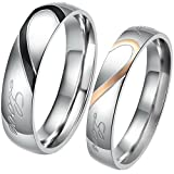 """JewelryWe Men Women's """"Real Love"""" Matching Heart Stainless Steel Promise Valentine Ring Engagement Wedding Band"""