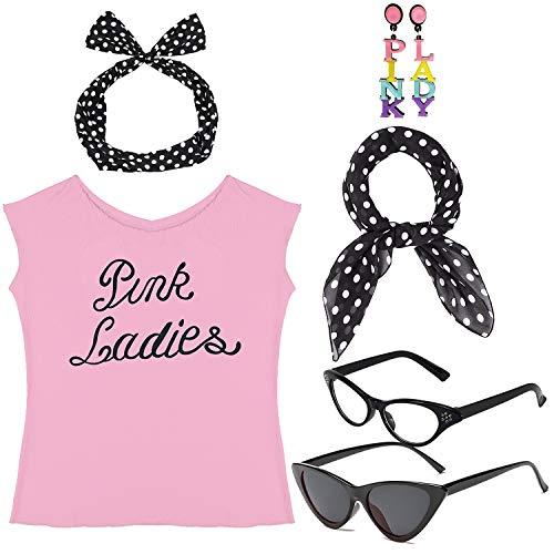 1950s Womens Halloween Costume Fancy Dress Set - Pink Ladies T-Shirt,Polka Dot Style Headband,Chiffon Scarf Cat Eye Glasses Bandana Tie Headband & -
