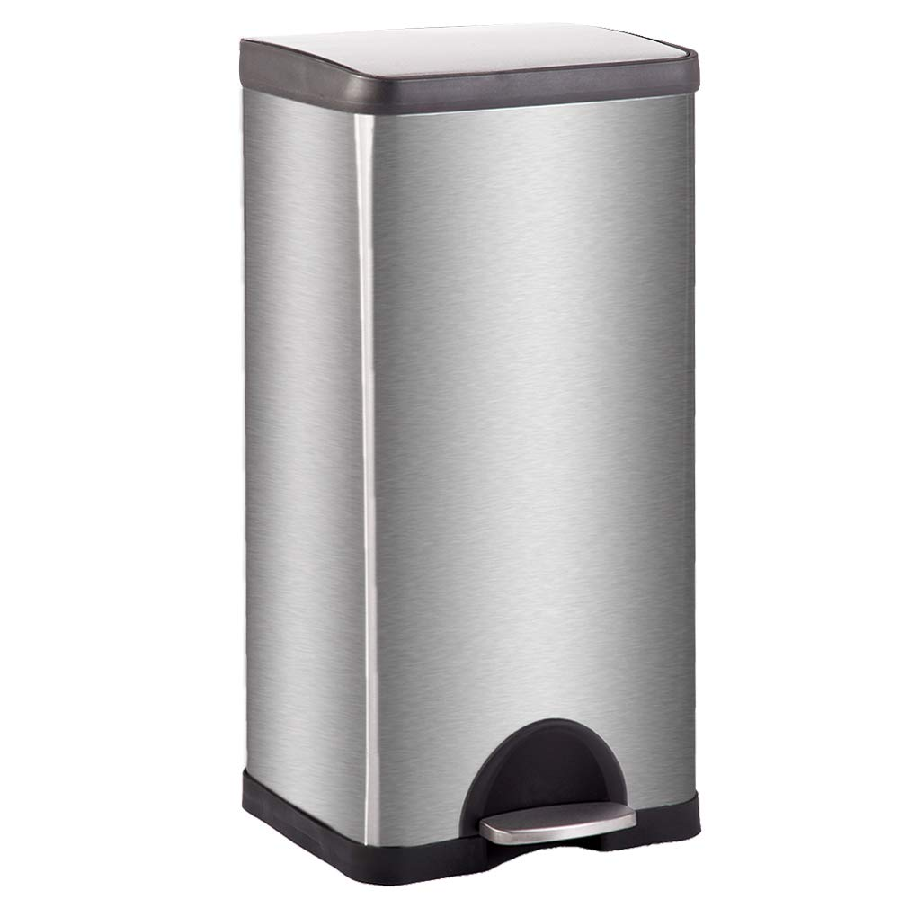 Metal Trash can Step Trash can Stainless Steel Trash can with Removable Inner lid for Home Kitchen Bathroom Office 10 Gallon / 30L