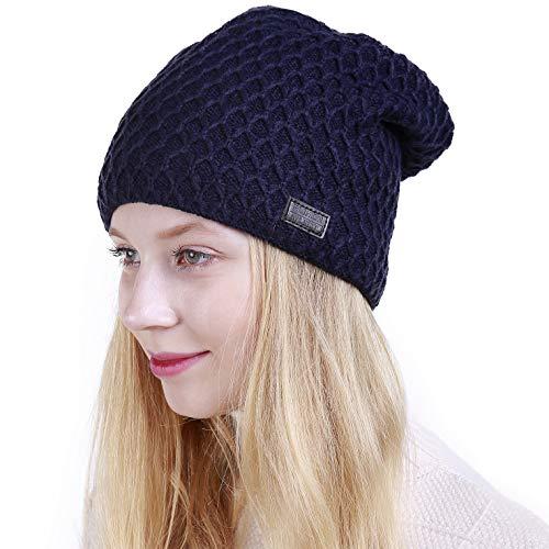 Muryobao Warm Winter Hat Slouchy Beanie Hat Skully Crochet Knit Snow Ski Cap for Women Navy ()