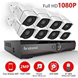 [2018 Newest] Firstrend 8CH POE NVR Security Camera System with 8x 1080P HD Security Camera, Plug and Play Security System with Pre-installed 2TB Hard Drive, Free APP and Night Vision