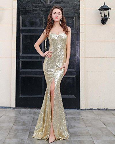 Missord - Vestido - Noche - Sin mangas - para mujer dorado