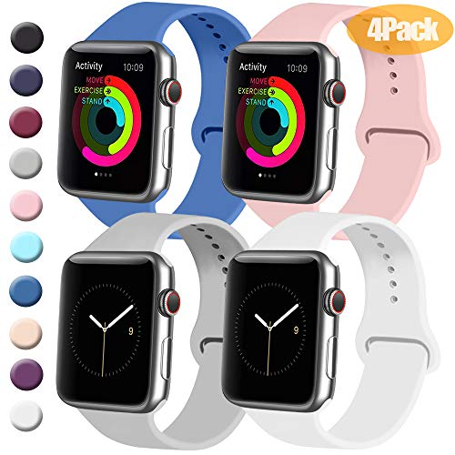 Royal Blue And Pink (Tobfit 4 Pack Sport Bands Compatible with Apple Watch Band 38mm 42mm 40mm 44mm, Soft Silicone Replacement Band Compatible with Watch Series 5/4/3/2/1 (Royal Blue/Pink/Gray/White, 42mm/44mm)