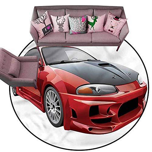 Print Floor Mats Bedroom Carpet Cars,Red Dragster Automobile Diameter 54