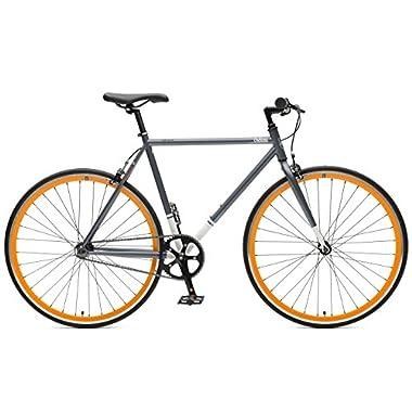 Critical Cycles Harper Single-Speed Fixed Gear Urban Commuter Bike, Graphite & Orange, 61cm, xl