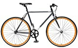 Critical Cycles Harper Single-Speed Fixed Gear Urban Commuter Bike, Graphite & Orange, 53cm, m offers