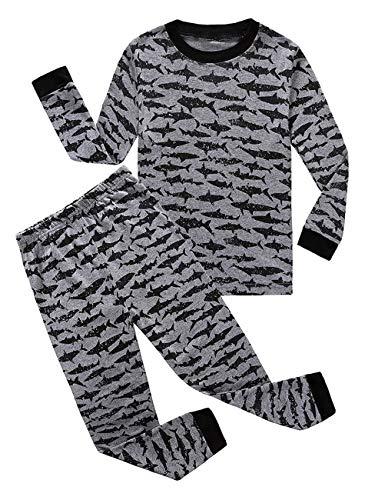 Shark Little Boys Long Sleeve Pajamas Sets 100% Cotton Pyjamas Kids Pjs Size 6 Gray