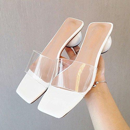 HBDLH-Damenschuhe Transparenter Folie Die Den Sandalen Drag-and-Handschuh mit mit mit Einem Einzigen Wort Grob-und Schuhe und Im Sommer Tragen. 7804c6